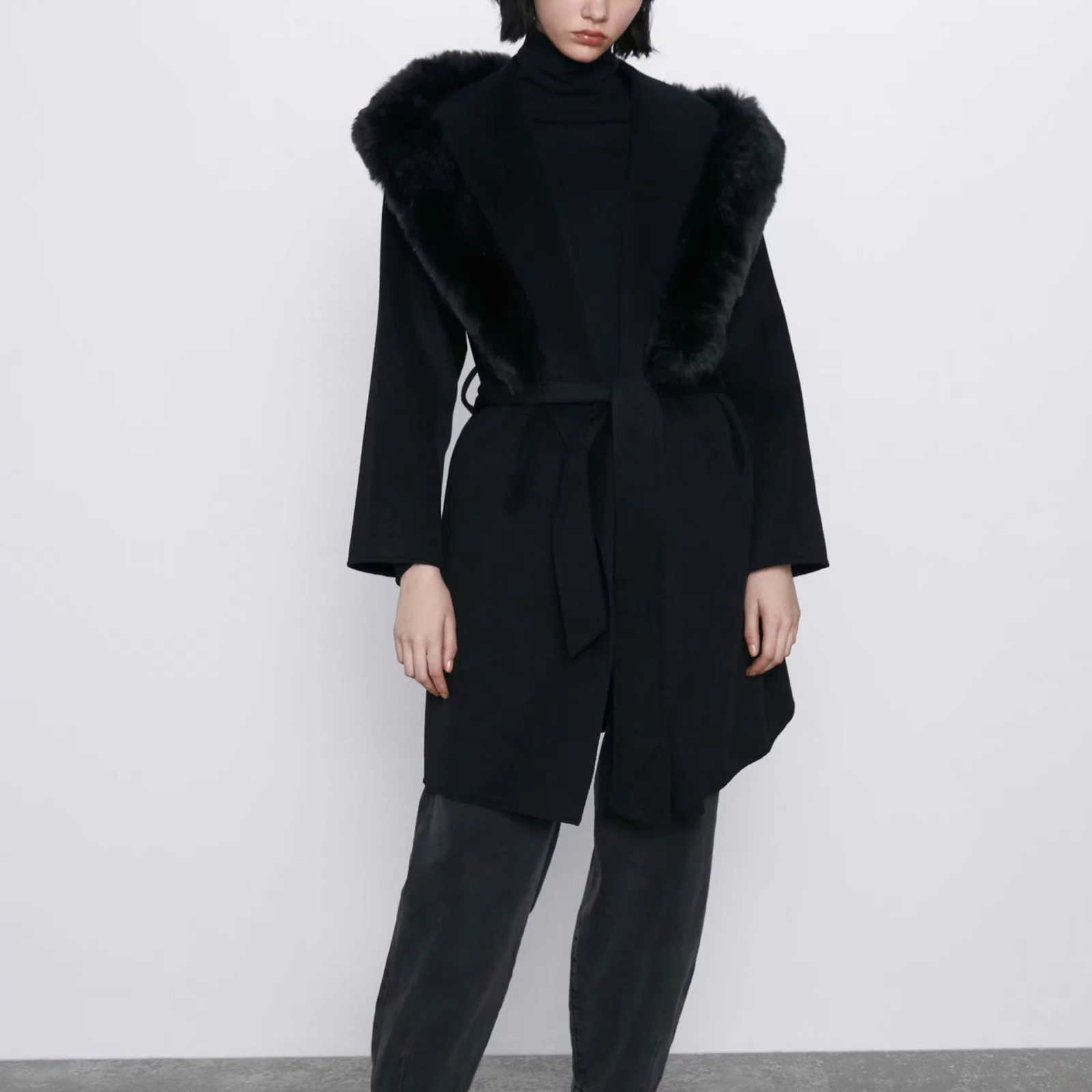 Za outono inverno casaco de lã gola de pele das mulheres faixas quente moda casual senhora outerwear casaco de lã parka feminino roupas femininas
