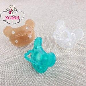 Xcqgh chupeta de silicone para meninos e meninas, 1 peça, grau alimentar, 3 cores, manequim