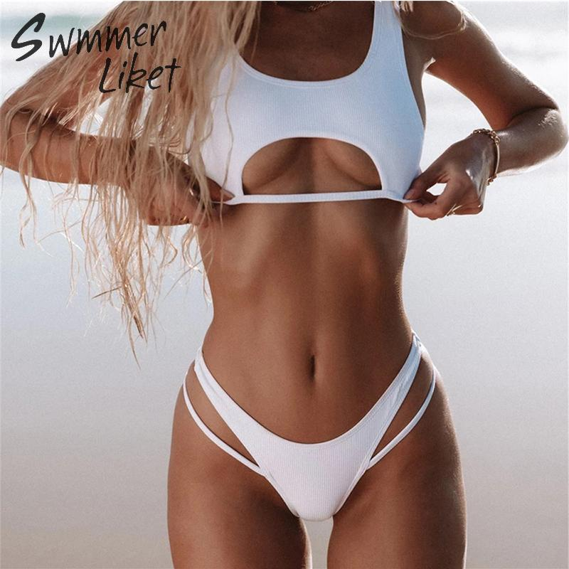 Sexy Hollow Out Bikini 2019 Solid White Swimwear Women High Cut Swimsuit Female Push Up Bathing Suit Two Piece Suit Biquini New