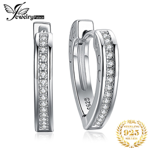 Image 1 - JewelryPalace אהבה אתה CZ חישוק עגילי ערוץ סט 925 כסף סטרלינג עגילים לנשים קוריאני עגילי תכשיטים 2020