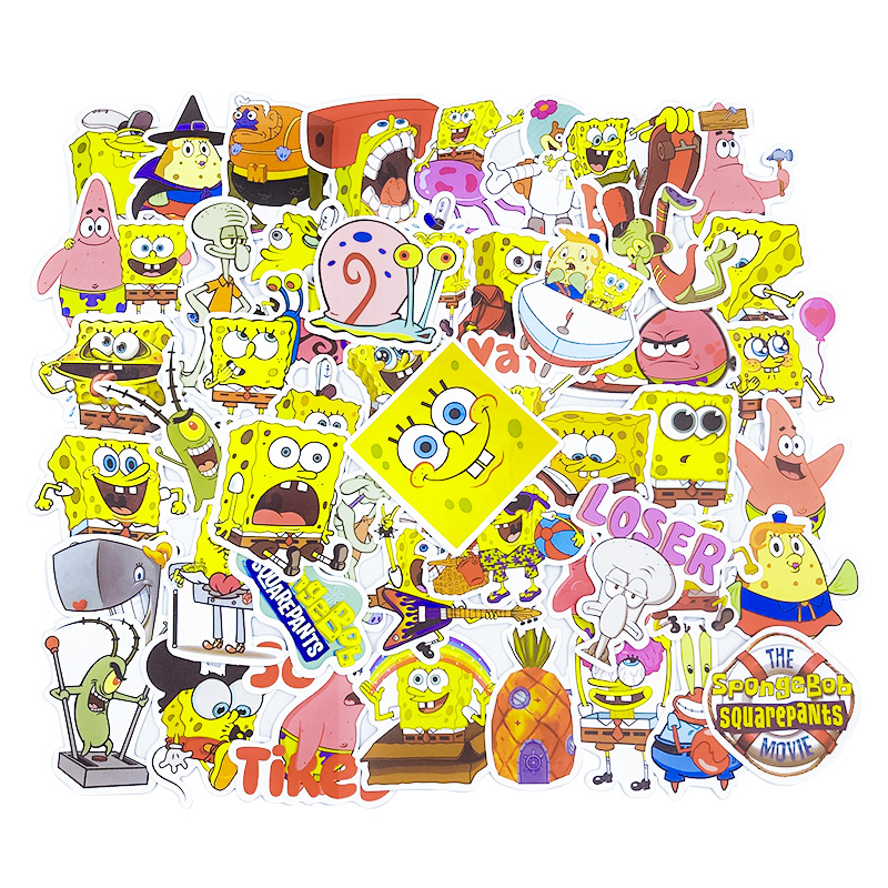 50Pcs/Pack SpongeBob Stickers Cartoon Graffiti Pegatinas For Motorcycle Notebook Luggage Bicycle Laptop Skateboard