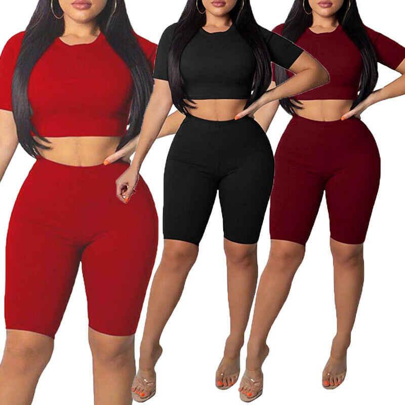 W nowym stylu kobiety joga zestaw stylowe top i szorty 2 sztuka zestaw Bodycon strój sportowe z krótkim rękawem chude wysokiej talii moda Hot 2019