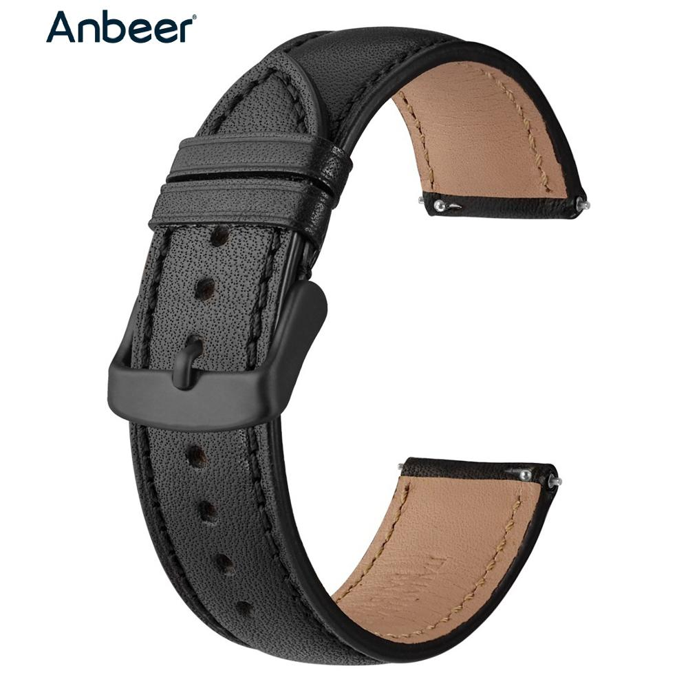 Anbeer Watch Strap 18mm 20mm 22mm Brown with Stitc
