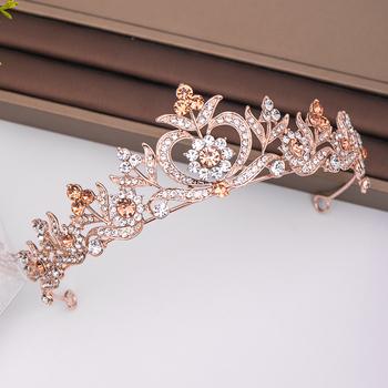 Modne różowe złoto Rhinestone korona kwiat ślubne akcesoria do włosów ślubne nakrycie głowy ozdoby do włosów włosy ślubne biżuteria diadem tanie i dobre opinie AiliBride Miedzi Moda Kryształ Tiary Kobiety TRENDY Hairwear PLANT