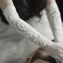 Bridal-Gloves Evening-Dress Wristband Bride-Accessories Flower Party Vintage Long Women