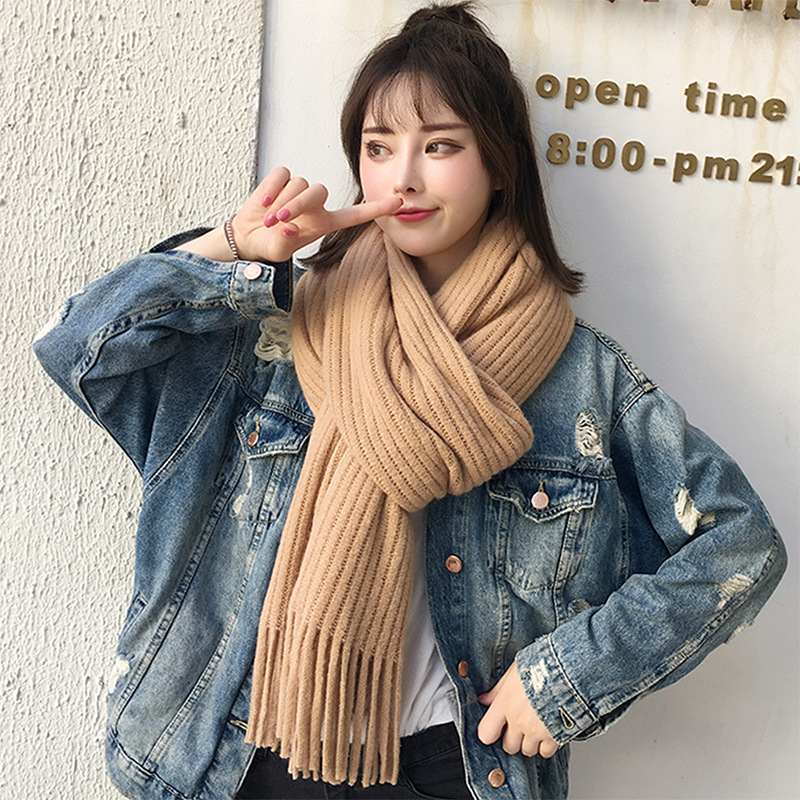 Autumn and Winter Women's Scarf Korean Wild Long Style Cashmere Warm Knitted Wool Student New Scarf