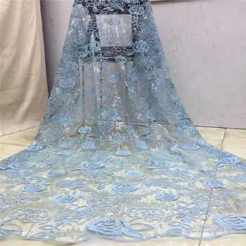 African 3d lace embroidered fabric french net tulle mesh sequence 2020 high quality Sky blue Swiss voile cord sequins lace