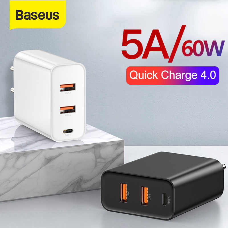Baseus 60 W USB Charger Quick Charge 3.0 USB Type C Lader voor iPhone 8 X XS PD 5A Snelle USB Oplader voor Huawei Samsung S10 S9