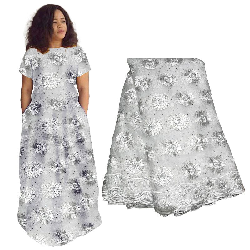 African French Lace Tulle Fabric 2019 Garment Cloth For Wedding Party Dresses With Lots Of Beads High Quality