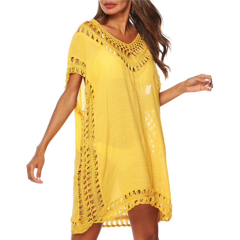 Women Beach Cover Up Summer Dress Solid Color Hollow Loose Beachwear Tassels Swimwear Bikini Beach Wear Lace Cover Up