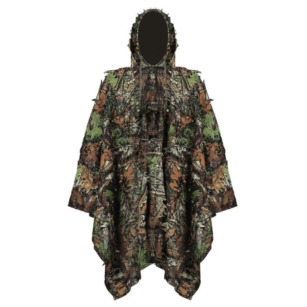 Outdoor 3D Leaves Camouflage Clothing <font><b>Jungle</b></font> Woodland Hunting Camo Ghillie Poncho Cloak Stealth Ghillie Suit Military CS image