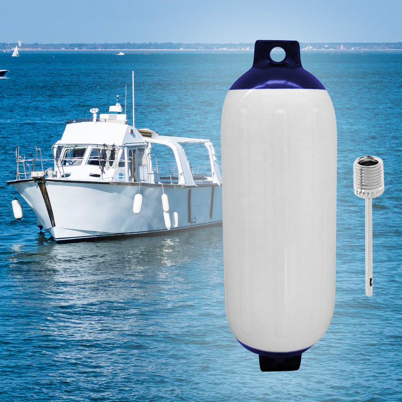 11x40cm Inflatable Marine Fenders Blue Twin Eye PVC Marine Accessories Boat Fender White/Blue Includes Pump Needle To Inflate