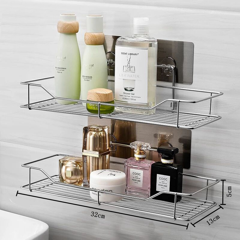 Stainless Steel Bathroom Organizer Made With Metal Used For Cosmetics And Soap