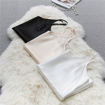 100% Silk Tank Top Women High Quality Fabric Shoulder Strap Adjustable Length Solid 3 Colors Casual Basic Clothing Fashion