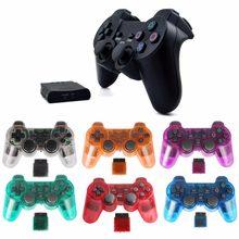 Manette de jeu sans fil couleur transparente pour Sony PS2, 2.4G, avec vibrations, contrôleur bluetooth pour Playstation 2