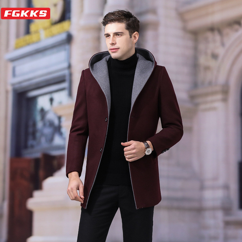 FGKKS Men Solid Wool Blend Coats Fashion Brand Men's Slim Long Section Overcoat Winter New Hooded Casual Wild Wool Coat Male
