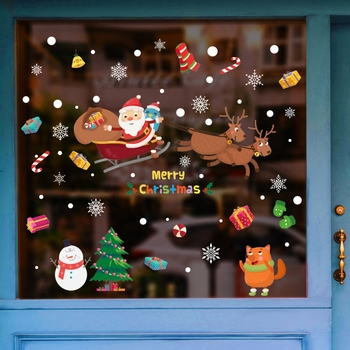 2020 Merry Christmas Wall Stickers Window Glass Festival Wall Decals Santa Murals New Year Christmas Decorations for Home Decor 1