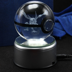 3D kieszonkowy potwór piłka rzeźbiony kryształ piłka LED obrotowy uchwyt lampy Pokemon dekoracji wnętrz w Posągi i rzeźby od Dom i ogród na