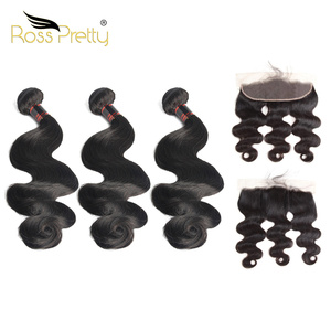 Brazilian Body Wave hair bundles with frontal Remi Human Hair lace closure with bundle hair weave Ross Pretty Product
