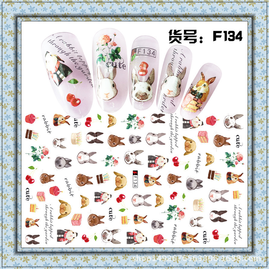 Foreign Trade 3D Japan New Style With Gum MORI Series Bunny Pregnant Women Children Nail Sticker Nail Decals F127-136