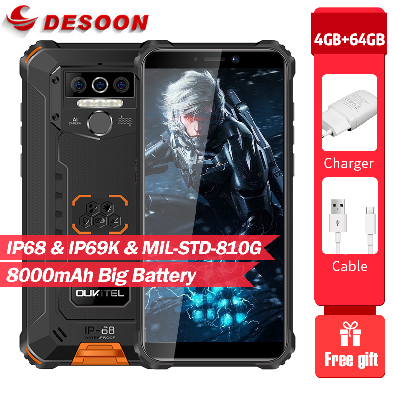 Oukitel wp5 pro ip68 à prova dip68 água smartphone 4gb ram + 64gb rom 8000mah android 10 13mp triplo câmera 5.5 polegadas de telefone móvel