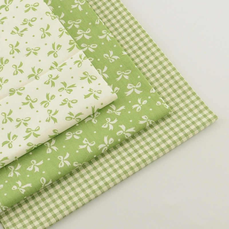 3 قطعة 40 سنتيمتر x 50 سنتيمتر الأخضر القطن قماش خياطة المواد تيلا Algodon يترك الزهور البيضاء القوس Tecido الفقرة خليط المواد