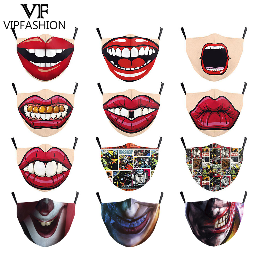VIP FASHION Funny Big Mouth Pattem Print Grimace Ghost Skull Face Mask Adults Reusable Protective PM 2.5 Dustproof Mouth Cover