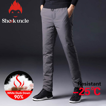 Winter Warm Men Down Pants White Duck Down Outdoor Sports Camping Pants Hiking Pants Ultralight Thicken Thermal Down Trousers new winter outdoor trekking white duck down jacket men hooded outwear duck down coat breathable hiking camping sports jackets