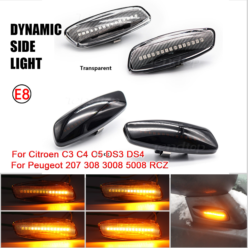 2X LED Car Dynamic Turn Signal Light Side Marker Lamp Blinker Amber For Citroen C4 Picasso C3 C5 DS4 Peugeot 308 207 3008 5008
