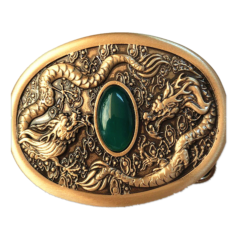 Vintage Antique Pure Brass Copper Big Belt Buckle Two-Dragons With Jade Cowboy Mens Fashion Gift