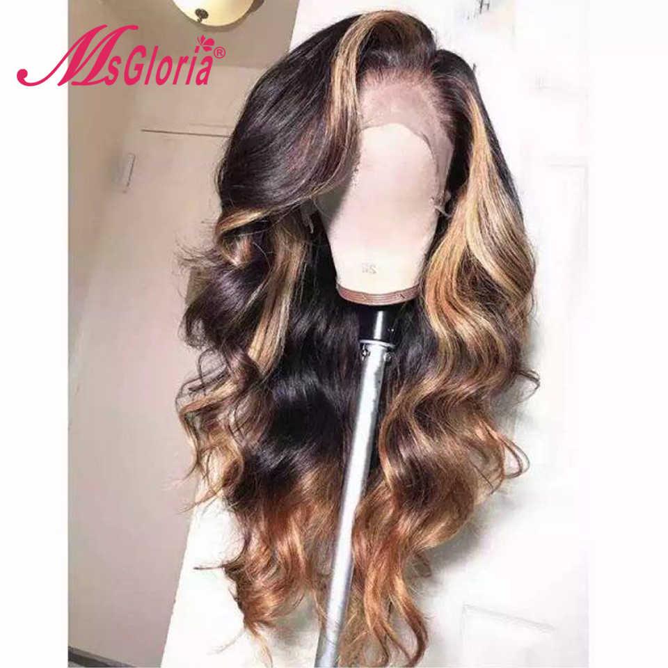 Ciało fala 13x6 koronki przodu włosów ludzkich peruk dla kobiet brazylijski Remy brązowe włosy Ombre wyróżnij ludzki włos peruka bielone węzłów 130