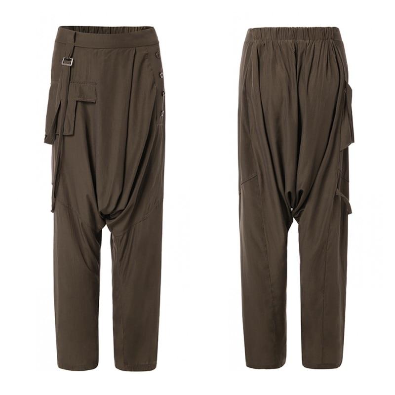 Plus Size Turnip Drop Crotch Pants Women's Causal Trousers 2020 ZANZEA Overalls Button Elastic Waist Pantalon Female Palazzo 5XL