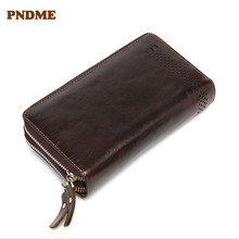 PNDME vintage high quality genuine leather men's clutch purse first layer cowhide long 2 zipper phone credit card holder wallet