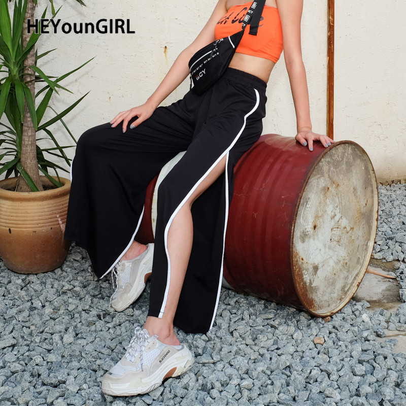 HEYYounGIRL Split Side Wide Leg Pants Women High Waist Black Trousers Casual Loose Elastic Ladies Pants Capris White Striped