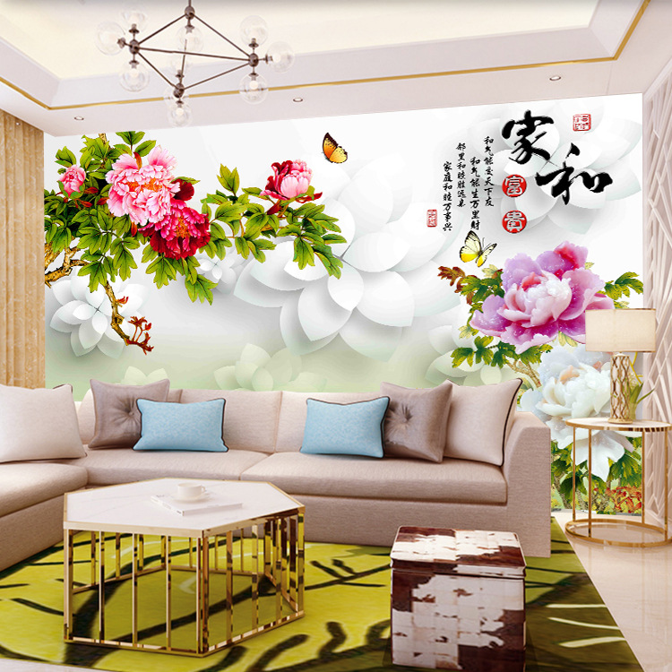 3D Peony And Rich Nine Fish Figure TV Background Wallpaper Mural Living Room 5D Stereo New Chinese Style Wall Cloth