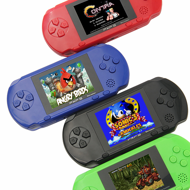 3 Portable 16 Bit Retro PXP3 Slim Station Video Games Player Handheld Game Console 2pcs Game Card built in 150 Classic Games