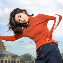 2019 autumn and winter new pure cashmere womens sweater color high collar trend Slim bottoming