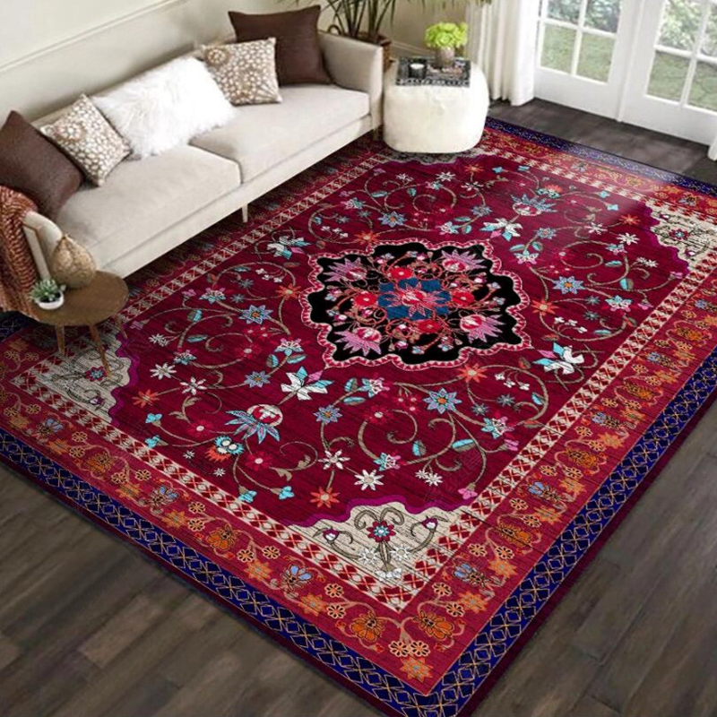 Persian Style Area Rugs Luxury Red Flower Printed Large Carpets For Living Room Bedroom Decor Tapete Kitchen Anti-Slip Floor Mat