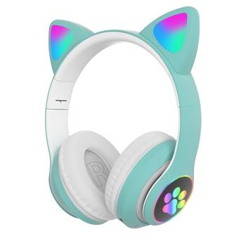 Flash Light Cute Cat Ears Bluetooth Wireless Headphone with Mic Can control LED Kid Girl Stereo Music Helmet Phone Headset Gift 7