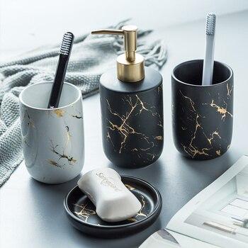 Northern European-Style Luxury Marbling Ceramic Bathroom Five-Piece Creative Toothbrush Cup Gift Wash Set