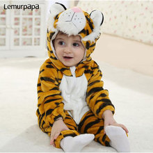 Baby Clothes Cute Tiger Animal Costume Toddler Boy Girl Onesie Flannel Warm Zipper Newborn Infant Funny Jumpsuit Kigurumis