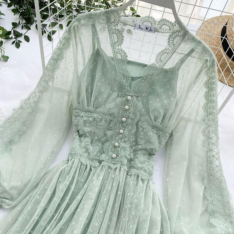 Lace Floral V-Neck Long Sleeve Polka Dot Dress 28