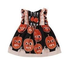 Halloween Tutu Dress Girl Dress Children Toddler Cotton Sleeveless Dresses Pumpkin Print Kids Dress for Baby Girls Clothing цена 2017