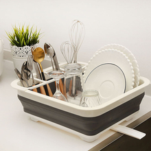Kitchen Accessories Dish Rack Set Cutlery Cup With Tray Steel Drain Bowl Shelf Folding Drainer