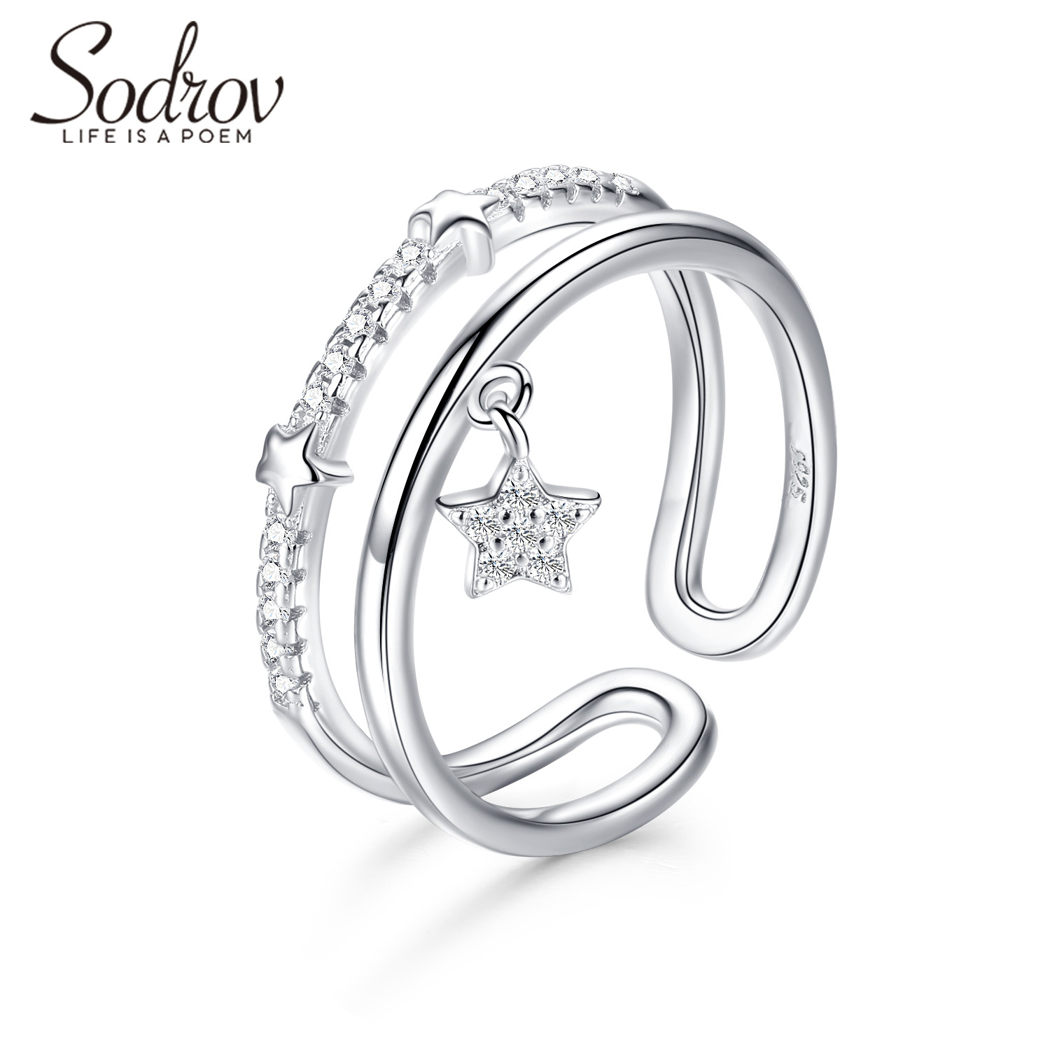 Sodrov Rings Jewelry Star 925 Sterling Silver For Women Zircon Wedding Bands Adjustable Fine Accessories