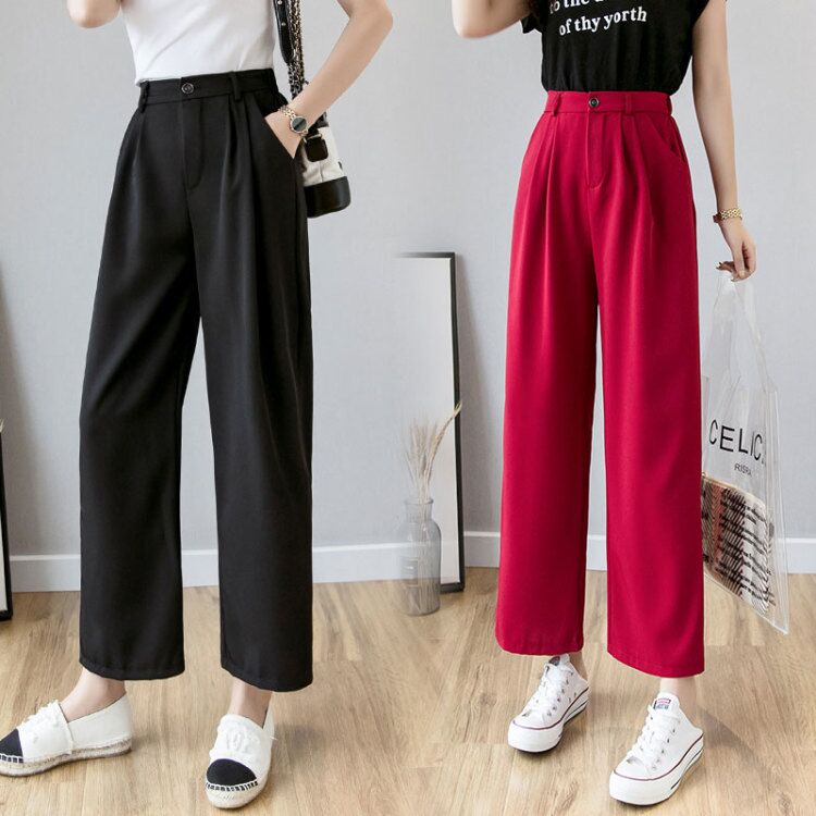 Burgundy,Black   Wide     Leg     Pants   Korean School Students Spring and Summer Slacks Straight High Waist Trousers Pockets S-XXL