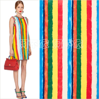 Tissus Silk Fabric Patchwork Free Shipping Age Season Rainbow Color Dress Parent child Outfit Chromatic Coat Reliefs Fabrics