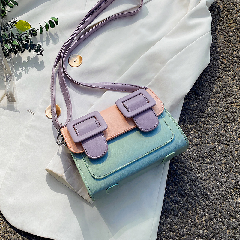 Contrast Color Mini Bag PU Leather Crossbody Bags For Women 2020 Summer Shoulder Handbags Female Travel Cross Body Bag