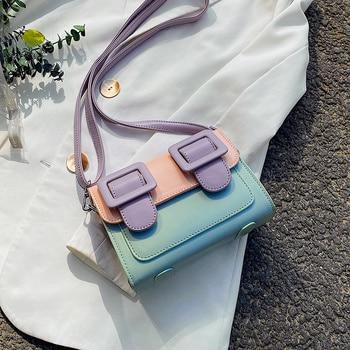 Contrast Color Mini Bag PU Leather Crossbody Bags For Women 2020 Summer Shoulder Handbags Female Travel Cross Body Bag