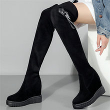 купить Women Cow Leather Stretchy High Heel Over The Knee High Military Boots Platform Wedge Round Toe Pumps Winter Fashion Sneakers дешево